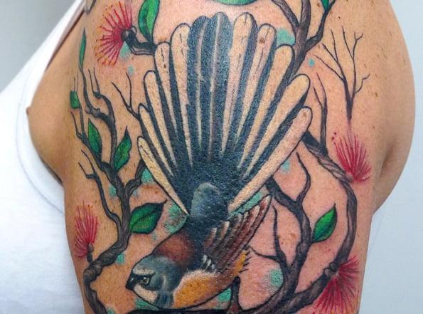 New Zealand Fantail Tattoo by Matt Curtis