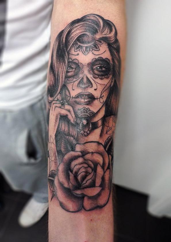 638a370e9 Day of the Dead Girl Tattoo by Matt Curtis - Tribal Body Art