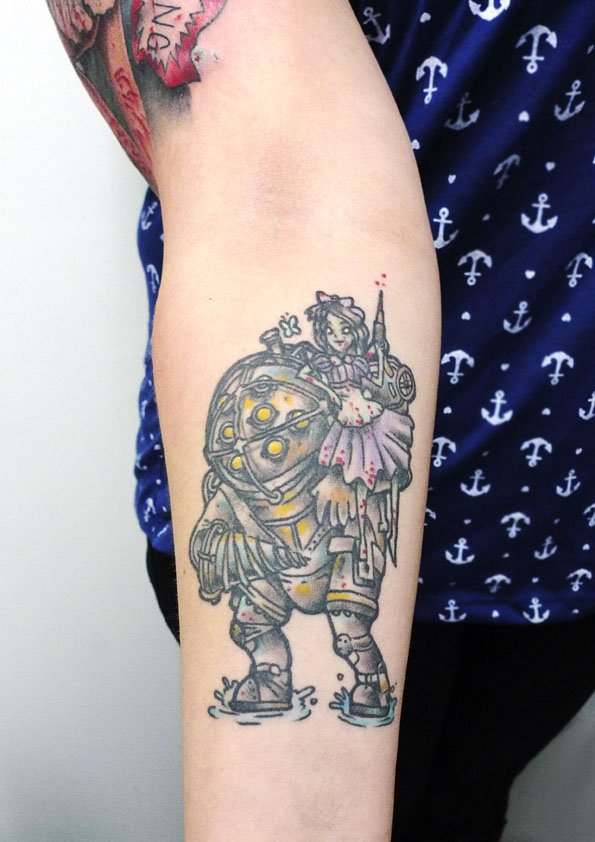 Joker and harley quinn tattoo by matt curtis tribal body art for Big sister and little sister tattoos