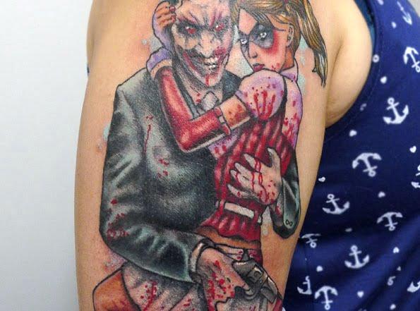 Joker and Harley Quinn Tattoo by Matt Curtis