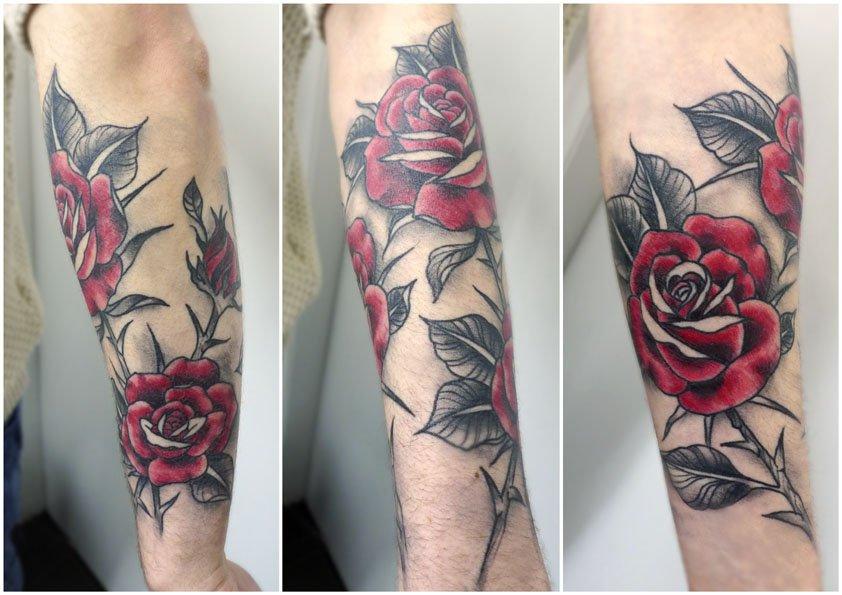 Rose Half Sleeve Tattoo by Matt Curtis - Tribal Body Art