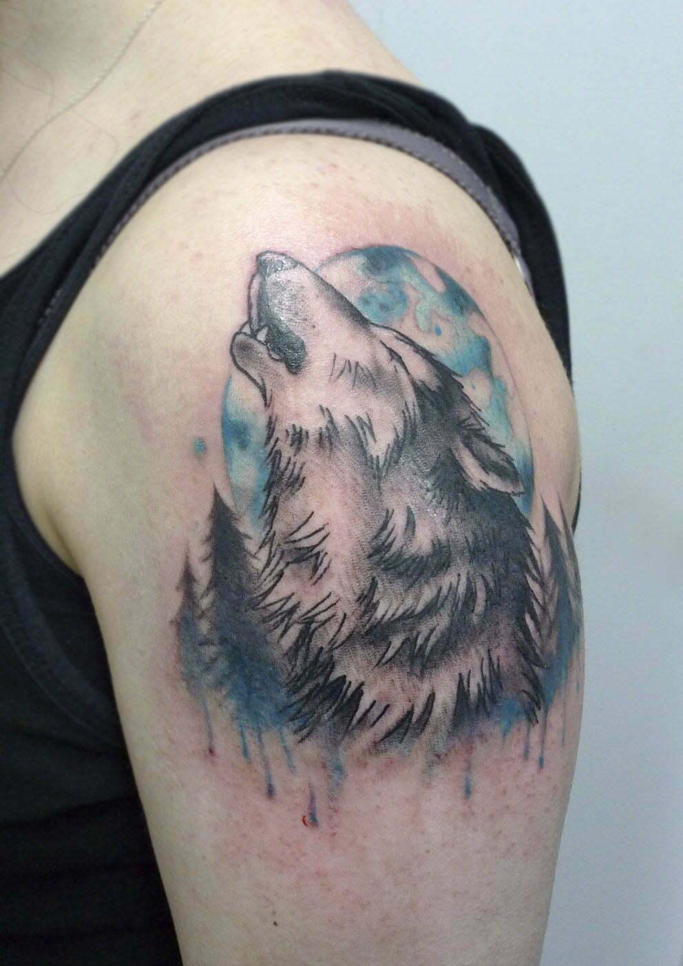 Howling wolf tattoo by matt curtis tribal body art for Tattoo artist job description