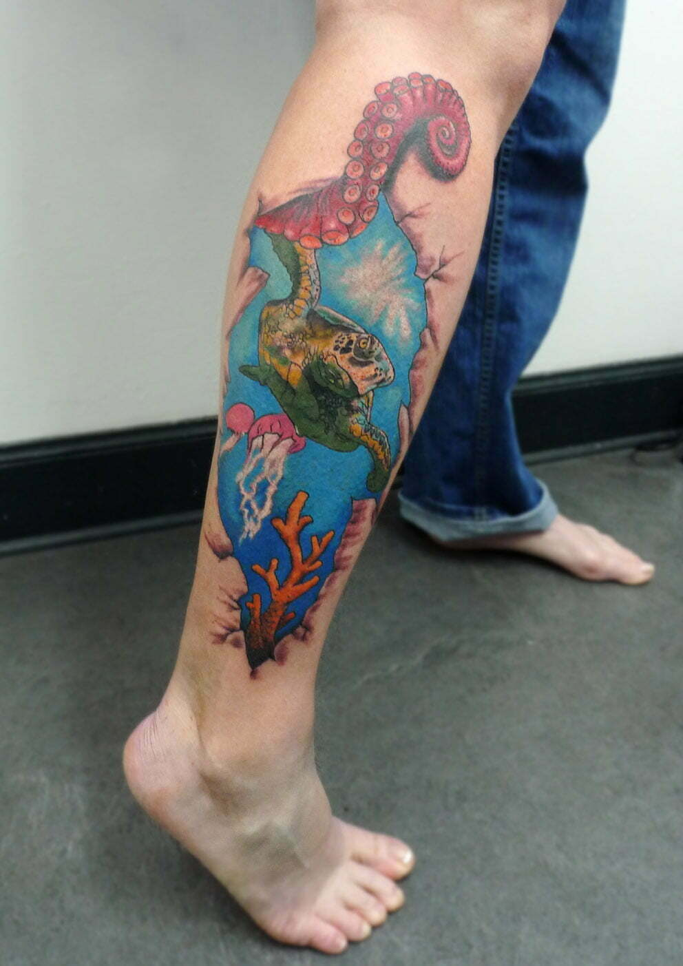 Underwater scene tattoo