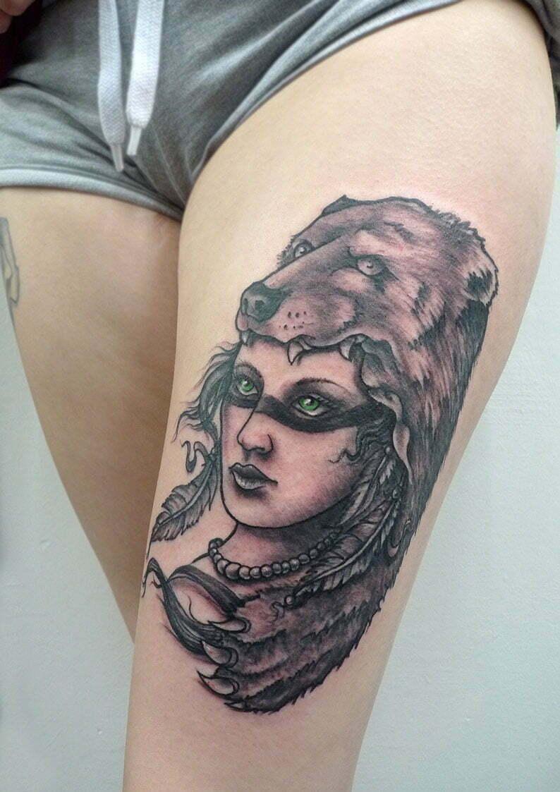 Bear girl tattoo by Max
